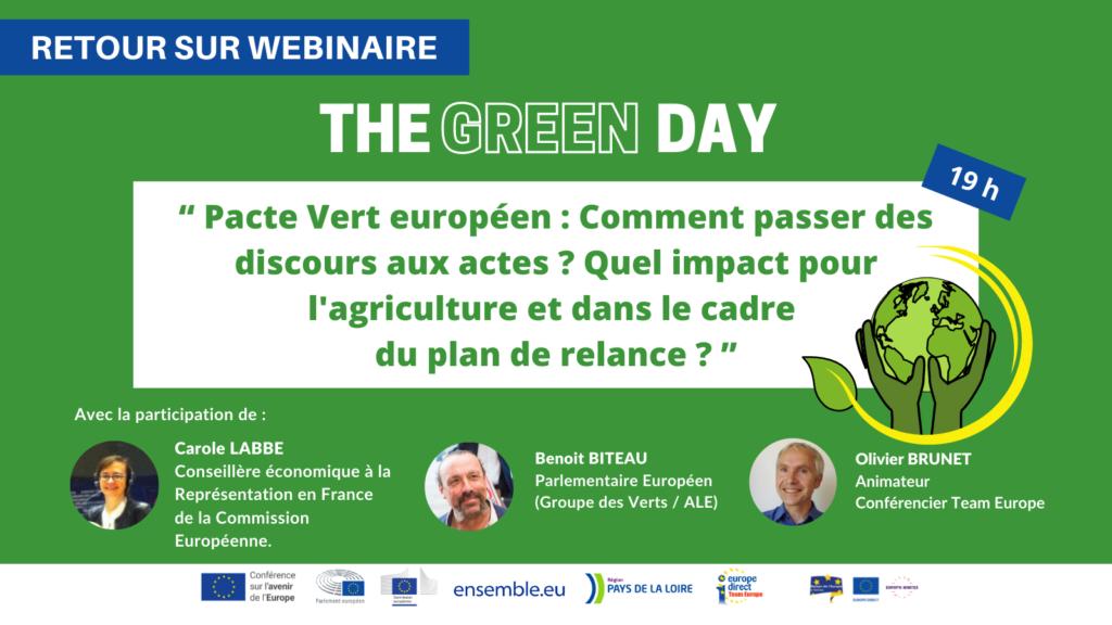 Retour sur le Webinaire : Pacte Vert : Comment passer des discours aux actes ?