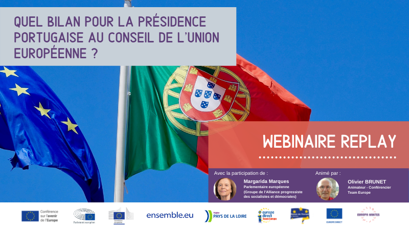 """REPLAY : Webinaire : """"Quel bilan pour la présidence portugaise au Conseil de l'Union européenne ?"""